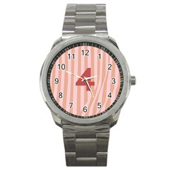 Number 4 Line Vertical Red Pink Wave Chevron Sport Metal Watch