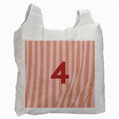 Number 4 Line Vertical Red Pink Wave Chevron Recycle Bag (one Side) by Mariart