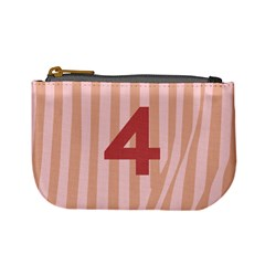 Number 4 Line Vertical Red Pink Wave Chevron Mini Coin Purses by Mariart