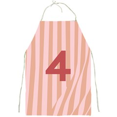 Number 4 Line Vertical Red Pink Wave Chevron Full Print Aprons by Mariart