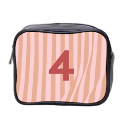 Number 4 Line Vertical Red Pink Wave Chevron Mini Toiletries Bag 2 Side by Mariart