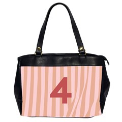 Number 4 Line Vertical Red Pink Wave Chevron Office Handbags (2 Sides)  by Mariart