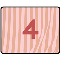 Number 4 Line Vertical Red Pink Wave Chevron Fleece Blanket (medium)  by Mariart