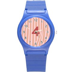 Number 4 Line Vertical Red Pink Wave Chevron Round Plastic Sport Watch (s)