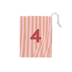 Number 4 Line Vertical Red Pink Wave Chevron Drawstring Pouches (small)  by Mariart