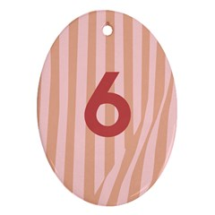 Number 6 Line Vertical Red Pink Wave Chevron Ornament (oval) by Mariart