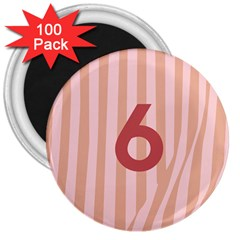 Number 6 Line Vertical Red Pink Wave Chevron 3  Magnets (100 Pack) by Mariart