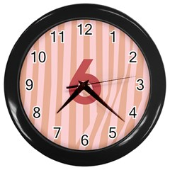 Number 6 Line Vertical Red Pink Wave Chevron Wall Clocks (black) by Mariart
