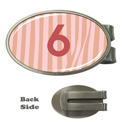 Number 6 Line Vertical Red Pink Wave Chevron Money Clips (oval)  by Mariart