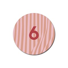 Number 6 Line Vertical Red Pink Wave Chevron Rubber Coaster (round)  by Mariart