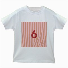 Number 6 Line Vertical Red Pink Wave Chevron Kids White T Shirts by Mariart