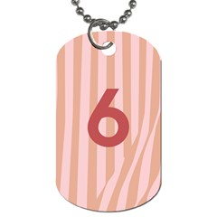 Number 6 Line Vertical Red Pink Wave Chevron Dog Tag (two Sides) by Mariart
