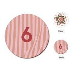Number 6 Line Vertical Red Pink Wave Chevron Playing Cards (round)  by Mariart