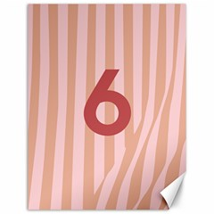 Number 6 Line Vertical Red Pink Wave Chevron Canvas 12  X 16   by Mariart
