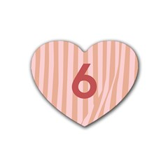 Number 6 Line Vertical Red Pink Wave Chevron Rubber Coaster (heart)  by Mariart