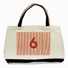 Number 6 Line Vertical Red Pink Wave Chevron Basic Tote Bag (two Sides) by Mariart