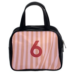 Number 6 Line Vertical Red Pink Wave Chevron Classic Handbags (2 Sides) by Mariart