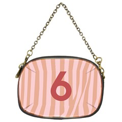 Number 6 Line Vertical Red Pink Wave Chevron Chain Purses (two Sides)  by Mariart
