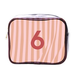 Number 6 Line Vertical Red Pink Wave Chevron Mini Toiletries Bags by Mariart
