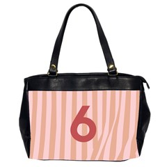 Number 6 Line Vertical Red Pink Wave Chevron Office Handbags (2 Sides)  by Mariart