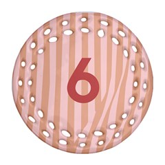 Number 6 Line Vertical Red Pink Wave Chevron Round Filigree Ornament (two Sides) by Mariart