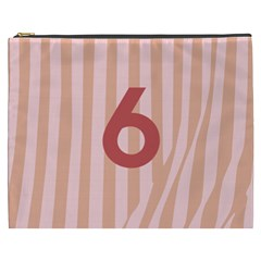 Number 6 Line Vertical Red Pink Wave Chevron Cosmetic Bag (xxxl)  by Mariart