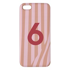 Number 6 Line Vertical Red Pink Wave Chevron Apple Iphone 5 Premium Hardshell Case by Mariart