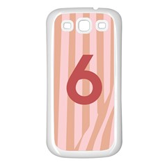 Number 6 Line Vertical Red Pink Wave Chevron Samsung Galaxy S3 Back Case (white) by Mariart
