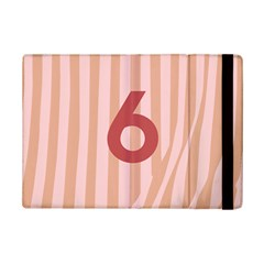 Number 6 Line Vertical Red Pink Wave Chevron Ipad Mini 2 Flip Cases by Mariart