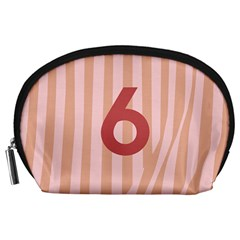 Number 6 Line Vertical Red Pink Wave Chevron Accessory Pouches (large)  by Mariart