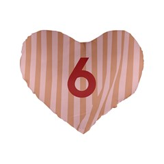Number 6 Line Vertical Red Pink Wave Chevron Standard 16  Premium Flano Heart Shape Cushions by Mariart