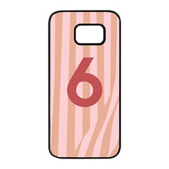Number 6 Line Vertical Red Pink Wave Chevron Samsung Galaxy S7 Edge Black Seamless Case by Mariart