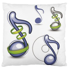 Notes Musical Elements Large Flano Cushion Case (one Side)