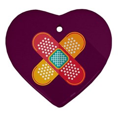 Plaster Scratch Sore Polka Line Purple Yellow Ornament (heart) by Mariart