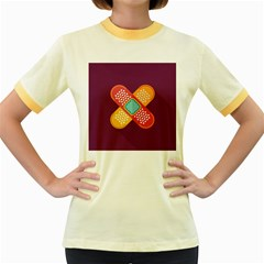 Plaster Scratch Sore Polka Line Purple Yellow Women s Fitted Ringer T Shirts by Mariart