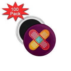 Plaster Scratch Sore Polka Line Purple Yellow 1 75  Magnets (100 Pack)  by Mariart
