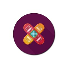 Plaster Scratch Sore Polka Line Purple Yellow Rubber Coaster (round)