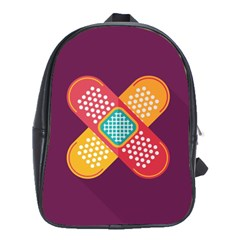 Plaster Scratch Sore Polka Line Purple Yellow School Bags(large)