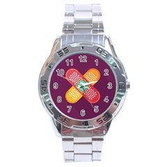 Plaster Scratch Sore Polka Line Purple Yellow Stainless Steel Analogue Watch
