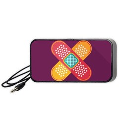 Plaster Scratch Sore Polka Line Purple Yellow Portable Speaker (black) by Mariart