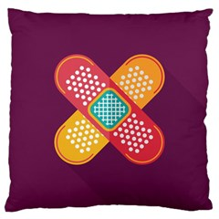 Plaster Scratch Sore Polka Line Purple Yellow Large Cushion Case (two Sides)