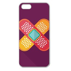 Plaster Scratch Sore Polka Line Purple Yellow Apple Seamless Iphone 5 Case (clear) by Mariart