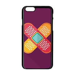 Plaster Scratch Sore Polka Line Purple Yellow Apple Iphone 6/6s Black Enamel Case