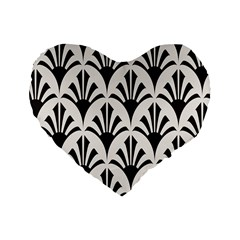 Parade Art Deco Style Neutral Vinyl Standard 16  Premium Heart Shape Cushions by Mariart