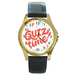 Question Mark Quiz Time Round Gold Metal Watch