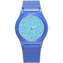 Pattern Blue Round Plastic Sport Watch (s) by Mariart