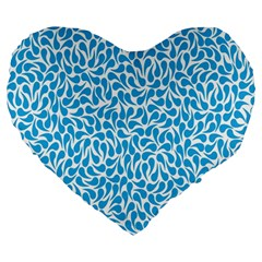 Pattern Blue Large 19  Premium Heart Shape Cushions by Mariart
