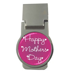 Valentine Happy Mothers Day Pink Heart Love Money Clips (round)  by Mariart