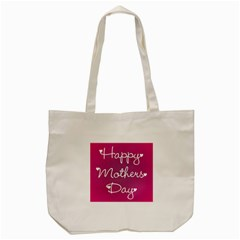 Valentine Happy Mothers Day Pink Heart Love Tote Bag (cream)