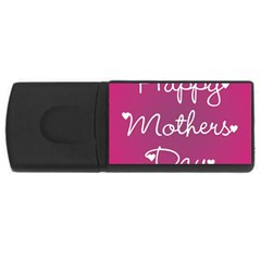 Valentine Happy Mothers Day Pink Heart Love Usb Flash Drive Rectangular (4 Gb) by Mariart